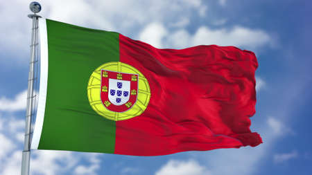Portugal Flag in a Blue Sky. Stock Photo