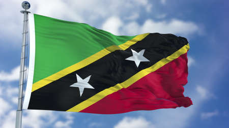 Saint Kitts and Nevis Flag in a Blue Sky.