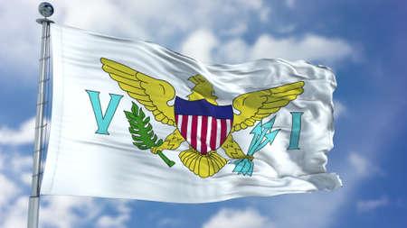 Virgin Islands US Flag in a Blue Sky.
