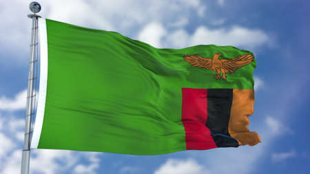 Zambia Flag in a Blue Sky.
