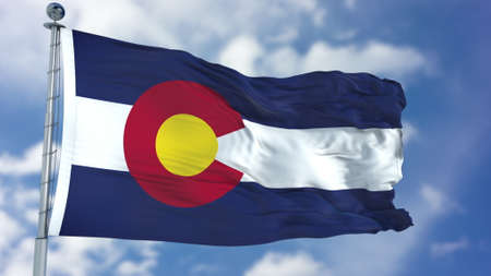 Colorado (U.S. state) flag waving against clear