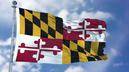 Maryland (U.S. state) flag waving against clear Stock Photo