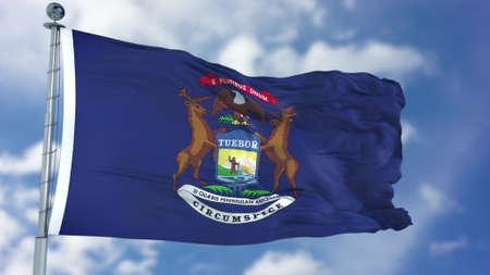 Michigan (U.S. state) flag waving against clear