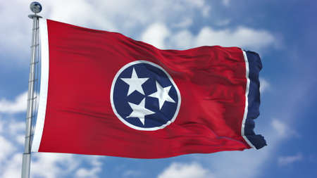 Tennessee (U.S. state) flag waving against clear