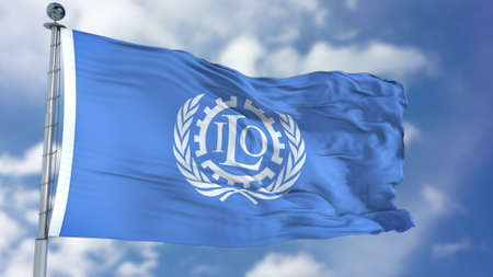 International Labour Organization (ILO) flag 스톡 콘텐츠