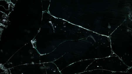 Shattered and broken glass pieces isolated on Imagens