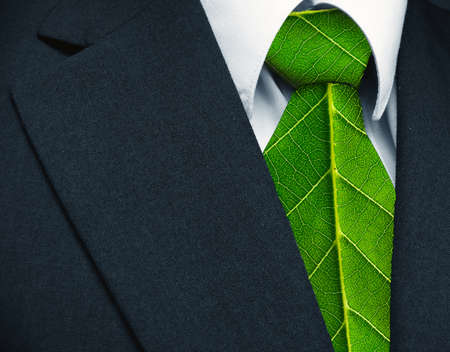 ecology  environment: Business suit and green leaves as tie representing a natural job in defense of a green environment