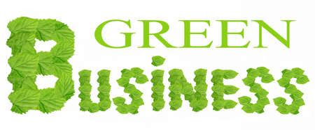 Green leaves forming the words Green business