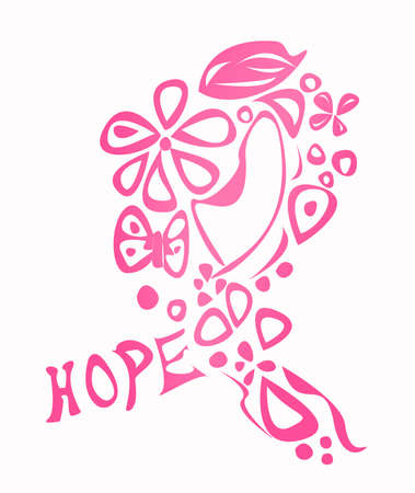 Pink breast cancer awareness ribbon made of different shapes and the word hope isolated on white  Foto de archivo