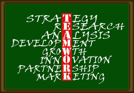 The word teamwork highlighted in a chart on a green board  photo