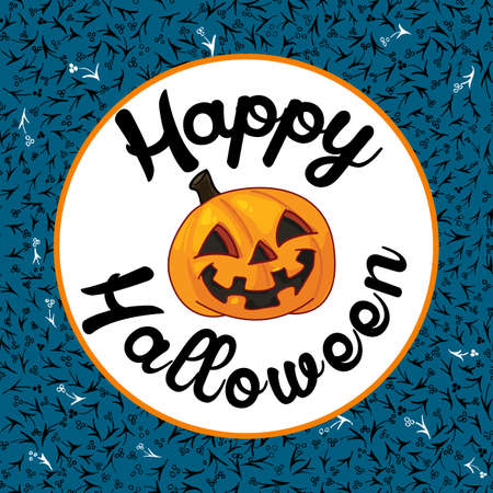 Happy Halloween card on blue background Stock Illustratie