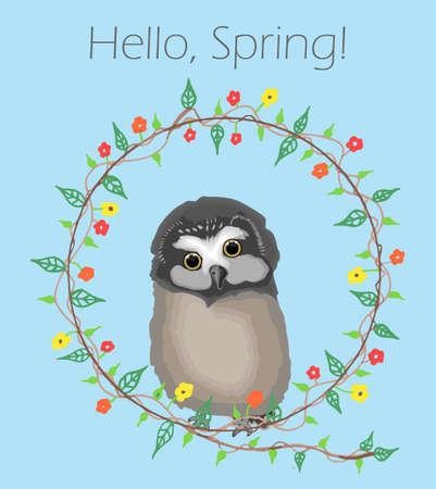 Cute baby owl on a hand-drawn frame made of flowers and the message Hello, Spring! Vector