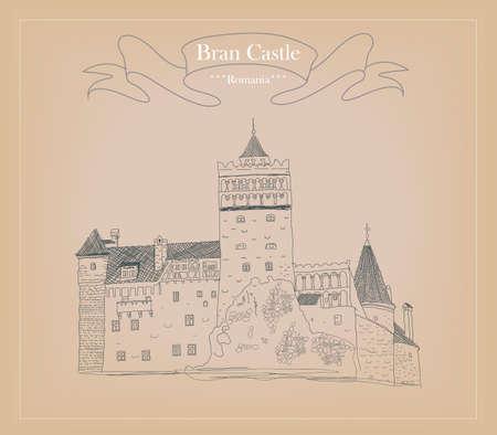 transylvania: Sketch of Bran castle in Romania