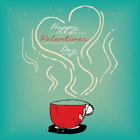 steamy: Valentines day card with steamy red cup of coffee or tea.
