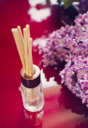 air diffuser: Aroma diffuser with bamboo sticks mounted and branches of lilac on red