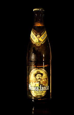 playwright: BUCHAREST, ROMANIA - May 05, 2015: A bottle of beer Nenea Iancu. Nenea Iancu was released as a tribute to Romanian playwright Ion Luca Caragiale. Brewed by Memminger Brauerei, Germany.