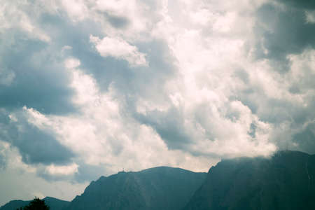 mist: Dark clounds and mist over Bucegi mountains.