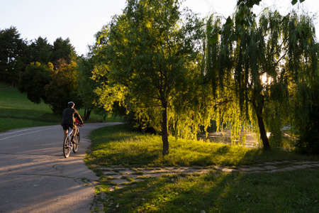 bycicle: Bucharest, ROMANIA - June 22, 2015: One man riding his bycicle in sunset light in Tineretului park, Bucharest. BUCHAREST -June 22, 2015 Editorial