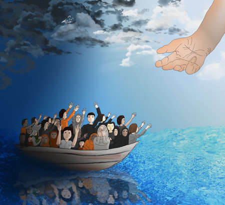 heading: Refugees on a boat on the stormy sea heading toward a better life and God-like hand reaching for them.