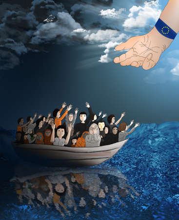 migrant: Refugees on a boat on the stormy sea heading toward a better life and the hand of the EU reaching for them.