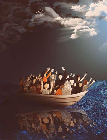 bateau: Les r�fugi�s sur un bateau sur la mer orageuse se dirigeant vers une vie meilleure