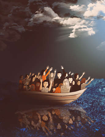 boat: Refugees on a boat on the stormy sea heading toward a better life
