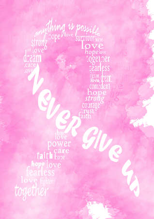 artistic nude: Pink breast cancer awareness ribbon made of words on pink watercolor texture.