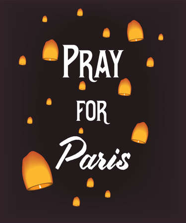 victims: Pray for Paris, 13 November 2015. Lampions on dark background in memory of the victims