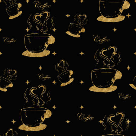 steamy: Golden steamy cups of coffee on black background. Stock Photo