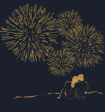 man looking at sky: Couple watching the fireworks. Golden drawing on dark blue Stock Photo
