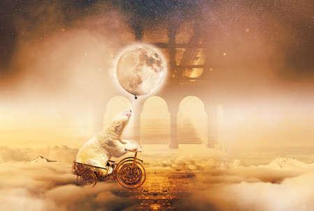 photomanipulation: Imaginary World. Polar bear in a card above the clouds.