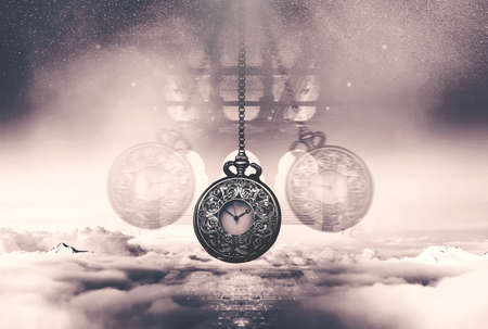 Hypnotising watch on a chain swinging above clouds. Time concept