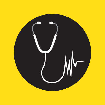 science symbols metaphors: Medical icon: stethoscope with a heart beat.