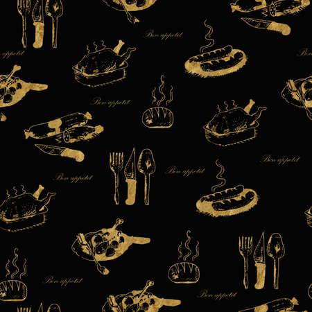 patrón alimentario de oro transparente dibujado a mano con las palabras Bon Appétit en negro.