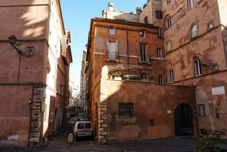 Old buildings with terraces in Piazza dell Oro in Rome