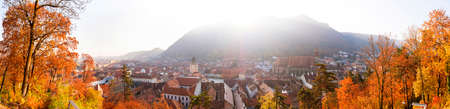 Panoramic view of Brasov on an autumn morning, seen from the White Tower