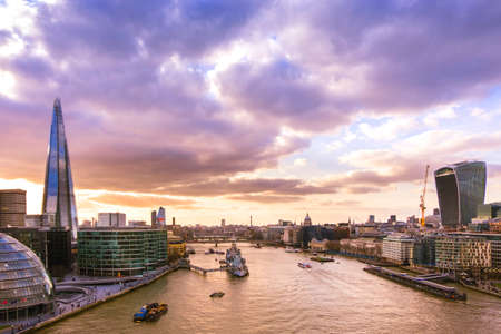 Panoramic view of London skyline at sunset