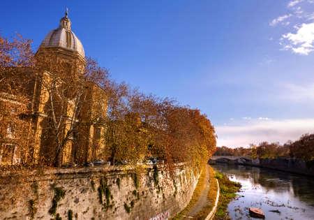 View of the San Giovanni dei Fiorentini Church dome and Tiber river Stock Photo