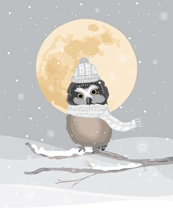 One cute owl with knitted hat and scarf on a frozen winter background. Landscape in silver and golden tones with falling snowflakes.