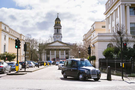 York Gate near Regents Park with the parish church of St Marylebone, on a spring sunny day.