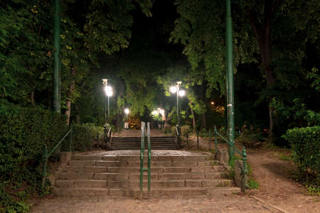 Night scene in Cismigiu Park, Bucharest, at the entrance from Stirbei Voda street