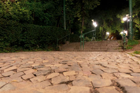 Cobblestone alley and stairs at the entrance of Cismigiu park