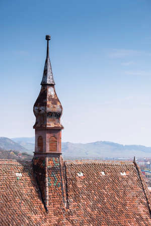 Rooftop of the Church of the Dominican Monastery in Sighisoara. Vertical shot Stock Photo