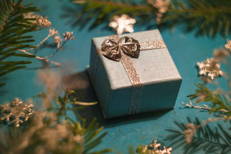 Silver and blue Christmas present box with ribbon Stock Photo