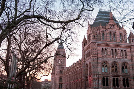 Exterior of the Natural History Museum of London in warm sunset light