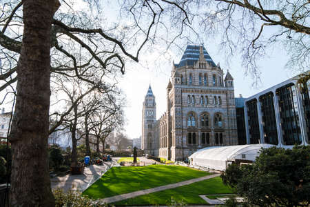 Exterior of the Natural History Museum of London on a sunny day