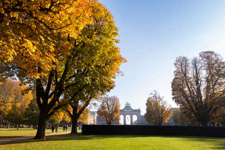 Autumn morning in Cinquantenaire park with the Triumphal Arch in view