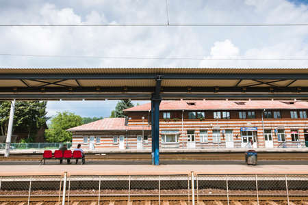 Outdoor view of the train station in Campina city, Romania.