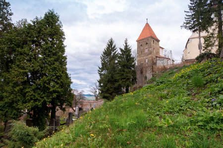 Ropemakers Tower and graves in the Saxon Cemetery in Sighisoara