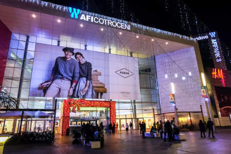 AFI Cotroceni shopping mall in Bucharest by night during holiday season